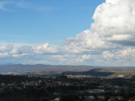 Recent study trip to another Italian hilltown new to me.  The view to the north from Montefiascone.