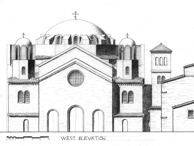 Elgin Urban Intervention and Orthodox Church; partial elevation. N. Brooks Studio. 2010. Michael Rabe.
