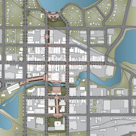 Downtown Plan 2060. Fergus Falls, MN. 2010. Seth Holmen M.Arch'11. Judson University Department of Architecture. Graduate Advanced Architecture and Urbanism Studio.  Christopher C. Miller, Ph.D.